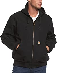 Carhartt Men\'s Big & Tall Thermal Lined Duck Active Jacket J131,Black,XX-Large Tall