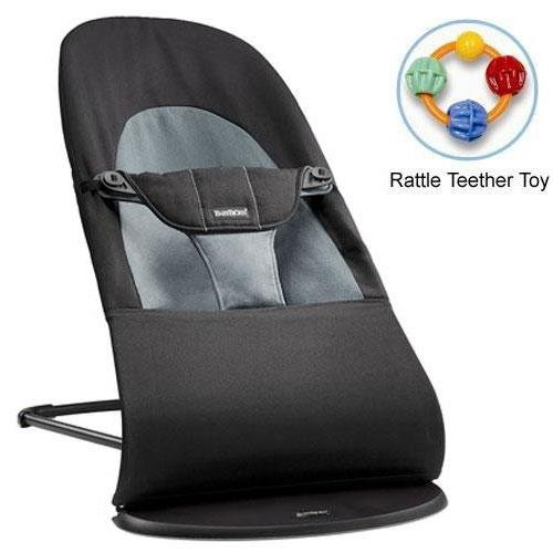 Baby Bjorn 005022Us Bouncer Balance Soft Cotton - Black Dark Gray With Rattle Teether Toy