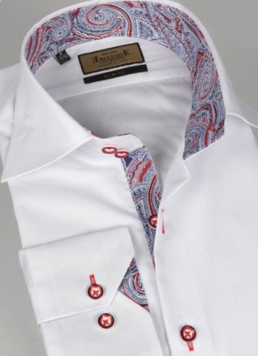 Jermyn street shirts Mens White regular Fit formal Paisley Shirt - Small