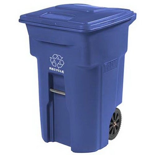 Toter 025564-R1BLU Residential Heavy Duty 2-Wheeled Recycling Can with Attached Lid, 64-Gallon, Blue (Recycle Can With Lid compare prices)