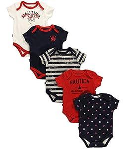 Nautica Baby-Boys Newborn 5 Pack Classic Bodysuits, Multi, 6-9 Months