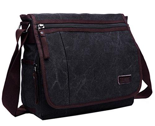 Super moderno tela Messenger Bag borsa a tracolla Laptop Bag computer bag satchel bag Bookbag Zaino Borsa da Lavoro per uomini e donne, Uomo, Black