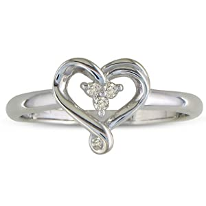 Three Stone Diamond Heart Shape Promise Ring in Sterling Silver ( Sizes 4-9)