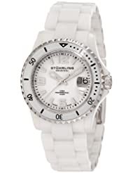 Stuhrling Original Men's 273.33EP3 Chevalier Swiss-Made Professional Divers Quartz Date White Ceramic Watch