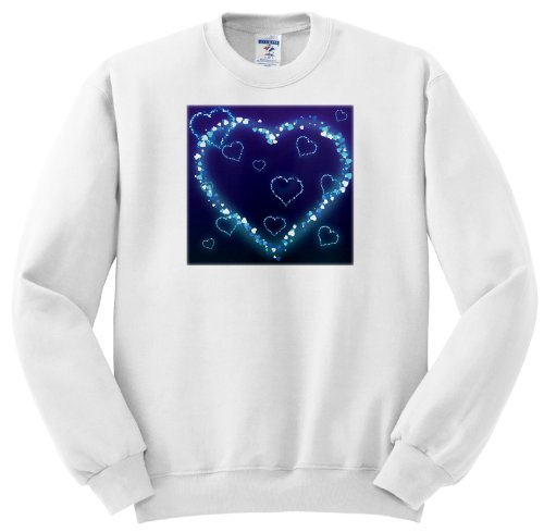 Ss_102492_1 Dooni Designs Valentines Day And Love Designs - Blue Electric Hearts Love Design - Sweatshirts - Adult Sweatshirt Small