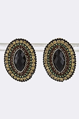 Baubles & Co Faceted Oval Gem Earrings (Black) front-1008632