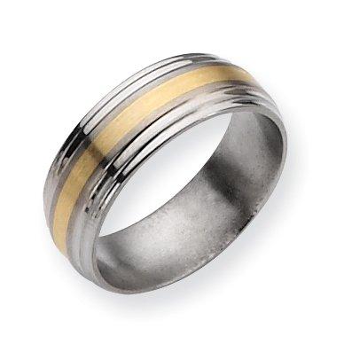 Titanium Ridged Edge 14k Gold Inlay 8mm Brushed And Polished Band, Size 8