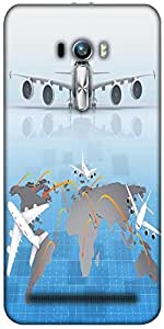 Snoogg Airplane Around The World Designer Protective Back Case Cover For Asus...