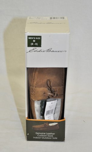 NEW Eddie Bauer Mens Leather Mocassin Slippers House Shoes Tan sz Large 9.5-10.5