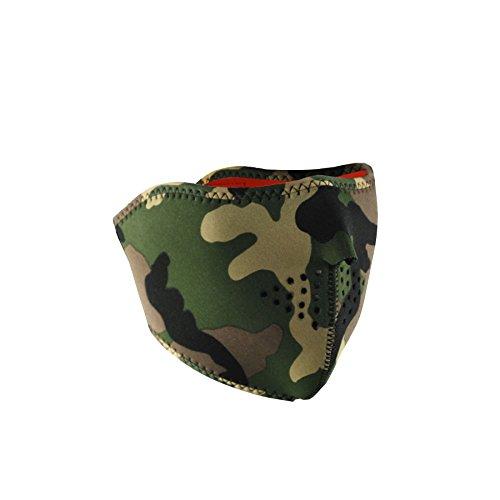 Zan Headgear WNFM118HHV, Half Mask, Neoprene, Woodland Camo Reverses to Hi-visibility Safety Orng