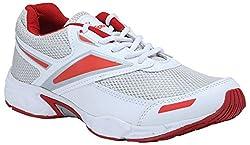 India Unltd Mens White Red PU Mesh Shoes (7 UK)