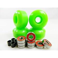 Buy Big Boy 52mm x 31mm Pro Skateboard Wheels (Green) + ABEC 7 Bearings + Spacers by Big Boy