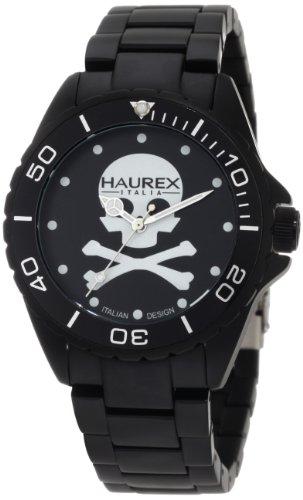 Haurex Italy 7K374UNS - Reloj analógico de cuarzo para hombre con correa de aluminio, color negro