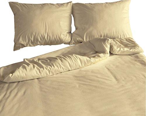 """Mako-Satin Bettwäsche-Set """"Ivory"""" 240×220 cm uni creme – Bettdecke und Kopfkissen-Bezug aus Satin-Baumwolle mit Reißverschluss – Der schöne & elegante 3-tlg Bett-Bezug mit leichtem Glanz für Paare"""