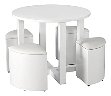 Seconique Charisma Stowaway White Gloss Dining Set with 4 White Stools - White Gloss/White Faux Leather