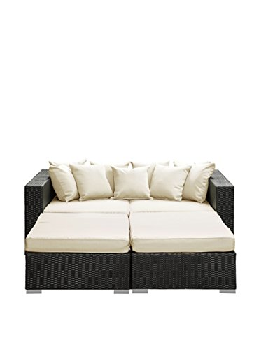 LexMod Palisades Outdoor Wicker Patio Daybed 4 Piece Set in Espresso with White Cushions image