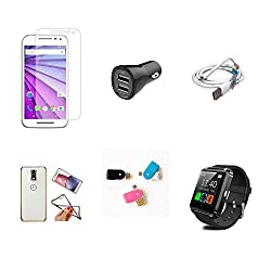 High Quality Combo of Moto G3 Temper Glass + Car Charger 2 USB + USB Data Cable + Attractive Back Cover (Transparent Back with Golden Border) + OTG and USB Dual Card Reader