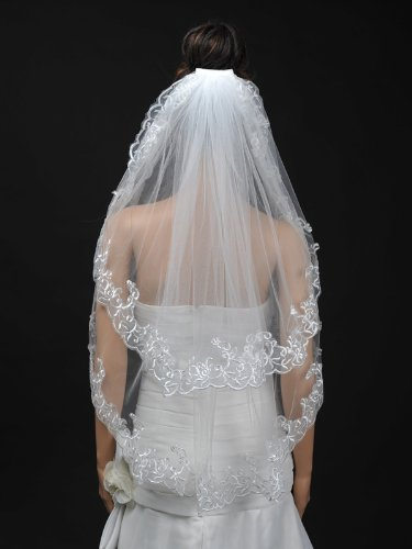 Remedios 2T Tulle Fingertip Length Wedding Veil with Embroidered Hem, Ivory