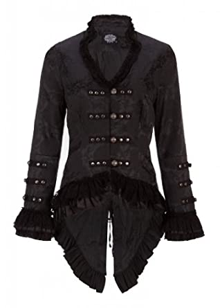 Elegant Black Victorian Jacket with Lace Embellishments - Size X-Small