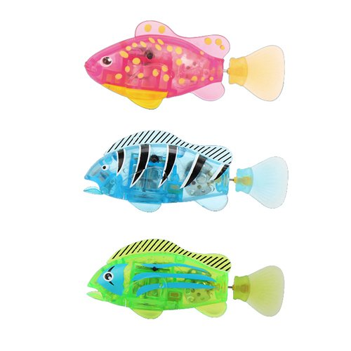 "Bokit Bathtub Toys Fish Electronic 3.3"" Clownfish, Flash Lighting and Mouth Open/Close Pink, Blue, Green 3 Colors - 1"