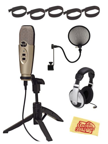 CAD U37 USB Condenser Microphone Bundle with Pop Filter, Headphones, Velcro Cable Ties, and Austin Bazaar Polishing Cloth