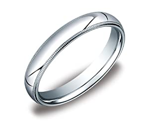 Platinum 4mm Comfort Fit Milgrain Plain Wedding Band, Size 6.5