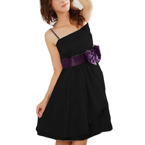 Allegra K Woman Spaghetti Strap Bow Tie Decor Waist Mini Dress Black XS