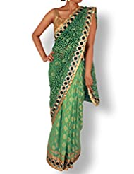 Sea Green Half And Half Net Georgette Saree With Embroidery Pallu
