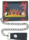 Trifold Leather Chain Wallet with Flames