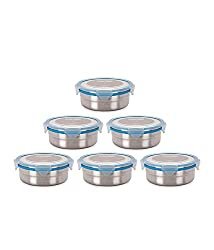 Steel Lock 1401 steel Airtight Storage Food Containers Combo, 700ml, Set of 6 Assorted colors