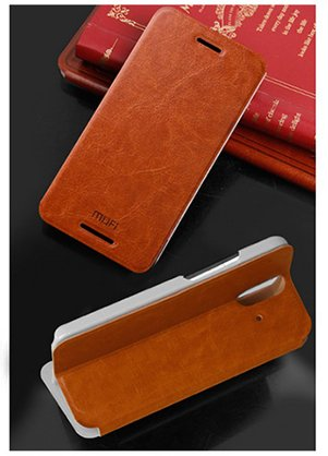 For HTC One E8 Dual Sim Phone Premium Leather Flip Cover Case with Stand by MOFI - Brown