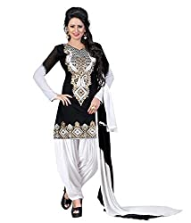 Black Chanderi Straight Embroidered Unstitched Dress Material