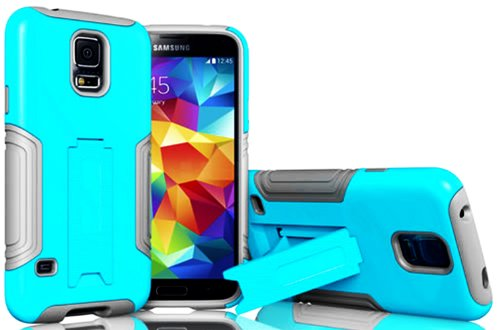 Mylife (Tm) Cool Gray And Cyan Blue - Neo Hybrid Series (Built In Kickstand) 2 Piece + 2 Layer Case For New Galaxy S5 (5G) Smartphone By Samsung (External Hard Fit Armor With Built In Kick Stand + Internal Soft Silicone Rubberized Flex Gel Bumper Guard +