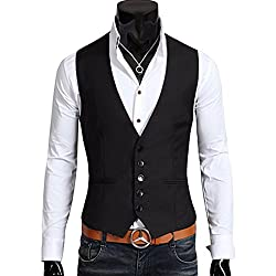BREGEO FASHION black v-neck waistcoat