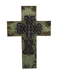 Distressed Green Finish Wood and Cast Iron Cross Wall Plaque