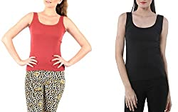 Lady Heart Women's Black & Brick Red Cotton Regular Strap Tank Top Camisole Free Size - S / M / L . Pack Combo of 2