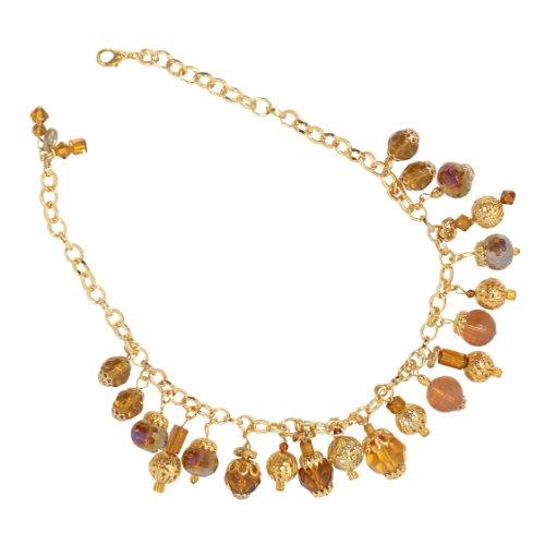 Marco Francisco Goldtone Amber and Gold Color Orb Dangle Ornament Neckalce