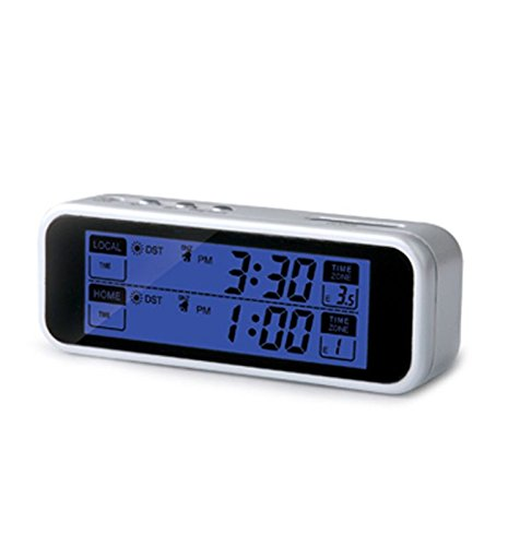 Ultmost Talking Dual-Time Travel Alarm Clock, English, White