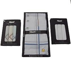 Mikado 100% Cotton Handkerchief Combo Of 10Pcs, 3Pcs & 3Pcs Box For Men (16 Pcs)