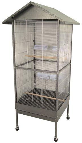 Vogelvoliere/Zimmervoliere 77x74x167 cm silber-anthrazit
