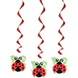 Unique Ladybug Party Hanging Decorations (3 Count), Red