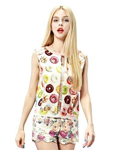 Elf Sack Womens Summer Blouse Round Neck Sleeveless Donuts Printing Chiffon Large Size