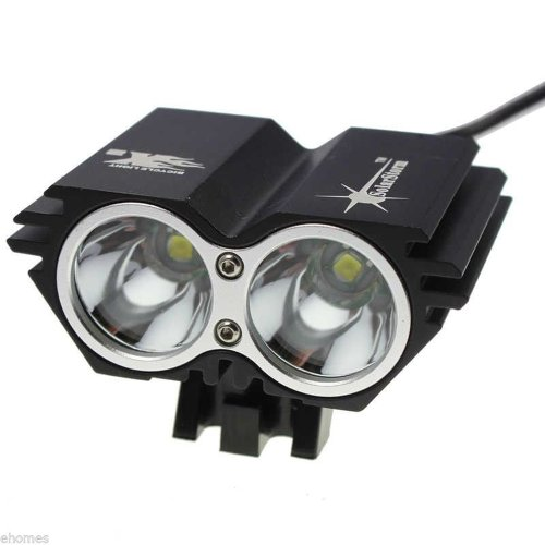 2 × Cree Xm-L Xml U2 Led X2 2000Lm Bicycle Light 4 Mode With Battery(4 X 16850 Batteries)