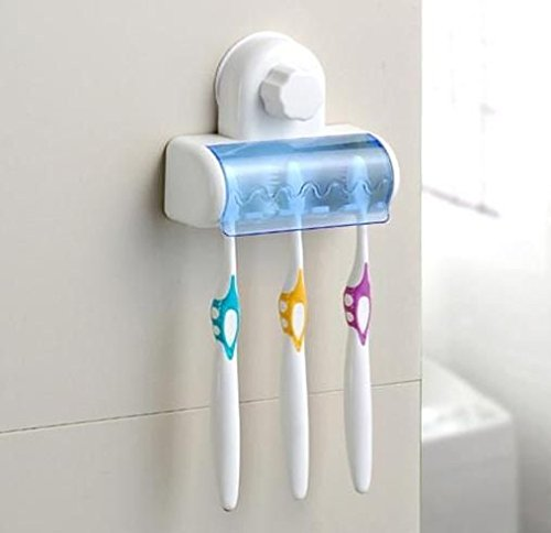 Easy 5 Toothbrush Holder Set with Wall Mount Strong Suction Cup