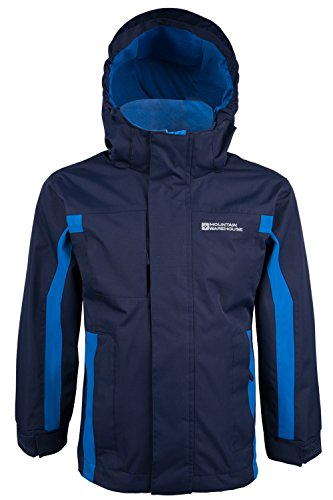 Mountain Warehouse Kinder Samson Kapuze Wasserdichte Nähte Jacke Regen Mantel Marineblau 152
