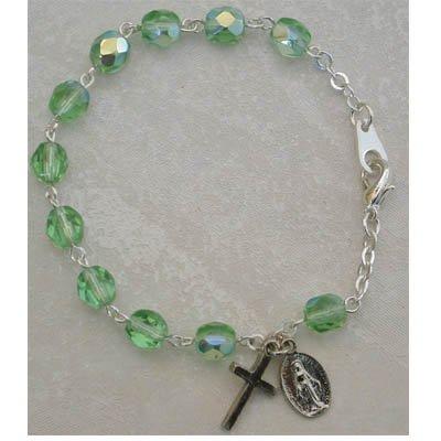 Youth Childrens Girls Stretch Rosary Bracelet Birthstone Peridot August.