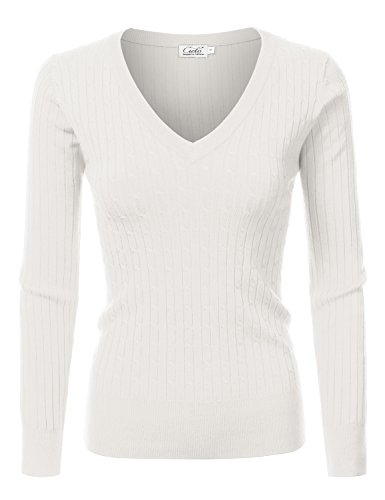 NINEXIS Womens Long Sleeve V-Neck Twisted Knit Sweater IVORY L