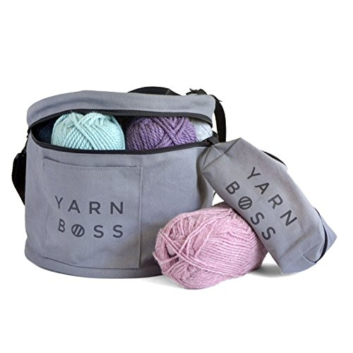 Yarn Boss Modern Yarn Storage Bag - Use as a Knitting Bag or Crocheting Bag - Tool and Yarn Organizer - Gray Canvas with Grommets - Light Weight Mobile Option for Yarn Projects