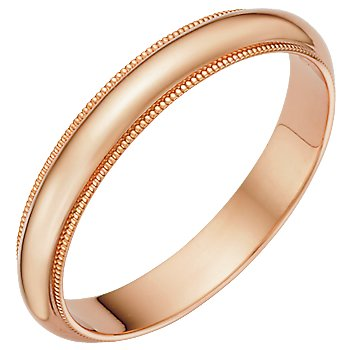 3.0 Millimeters Rose Gold Wedding Band Ring 14Kt Gold with Beaded Edge, Half Round Style MHR03MW by Wedding Rings by Oromi, Finger Size 11