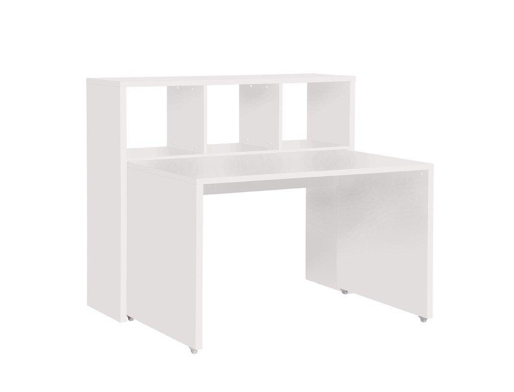 Schreibtisch Mark 101×60 cm Farbe nach Wahl Bürotisch rollbar Regal Jugendzimmer Arbeitszimmer, Farbe:weiß